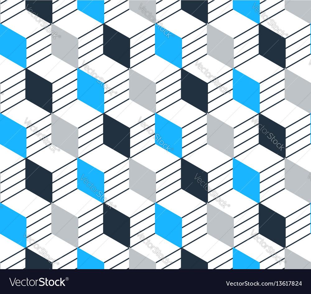 Blue black line pattern on white seamless backdrop vector image