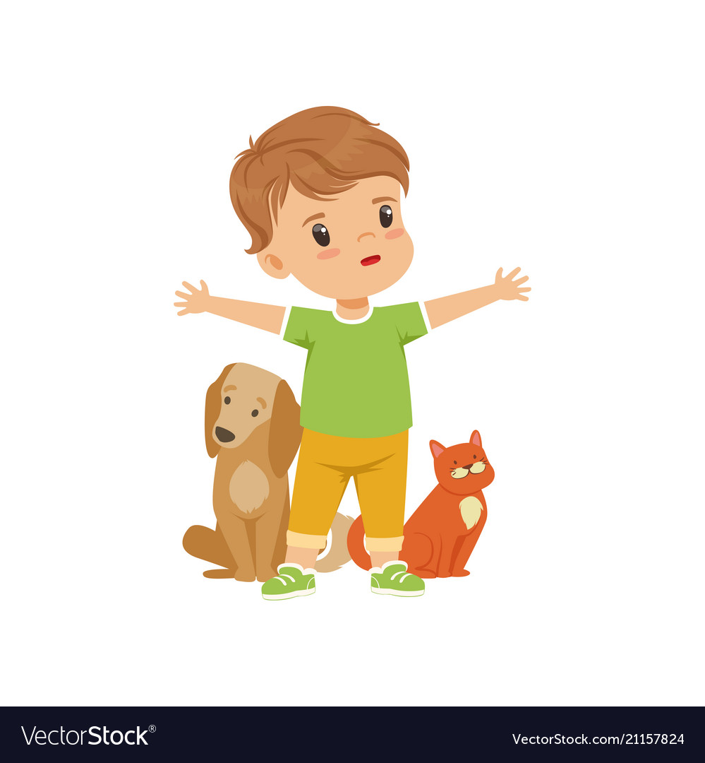 Brave little boy protecting and caring for animals