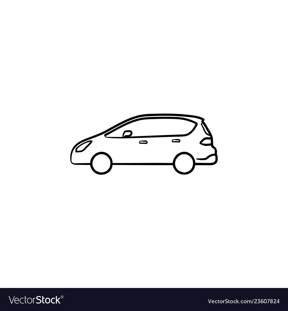Car side view hand drawn outline doodle icon