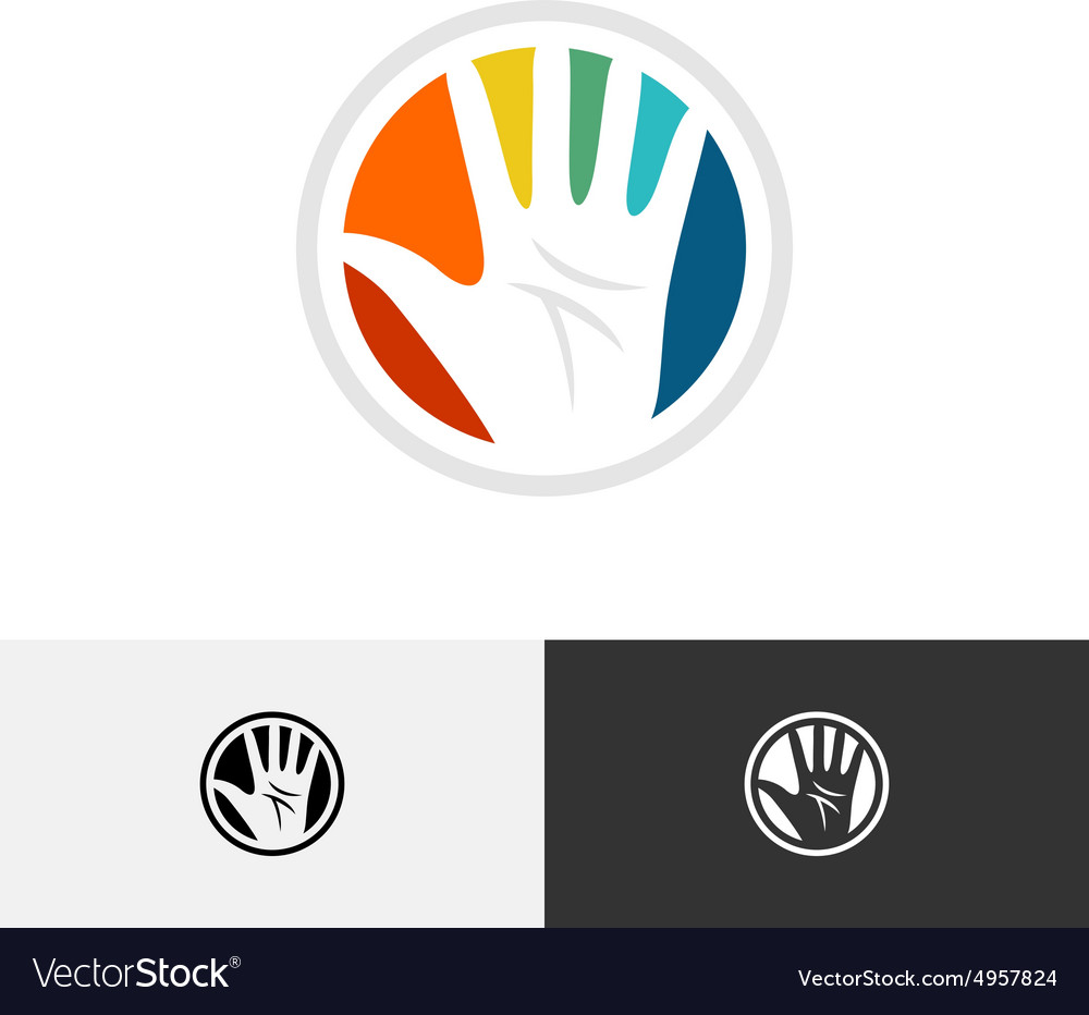 Colorful hand logo