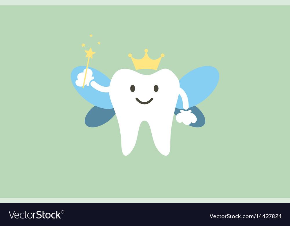 Cute healthy white teeth is tooth fairy