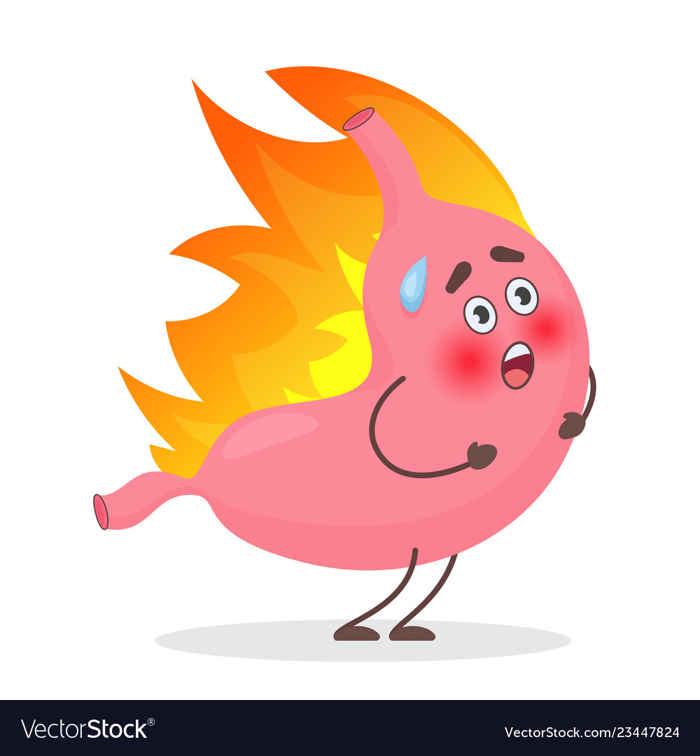 Cute stomach emotions character in fire gastritis