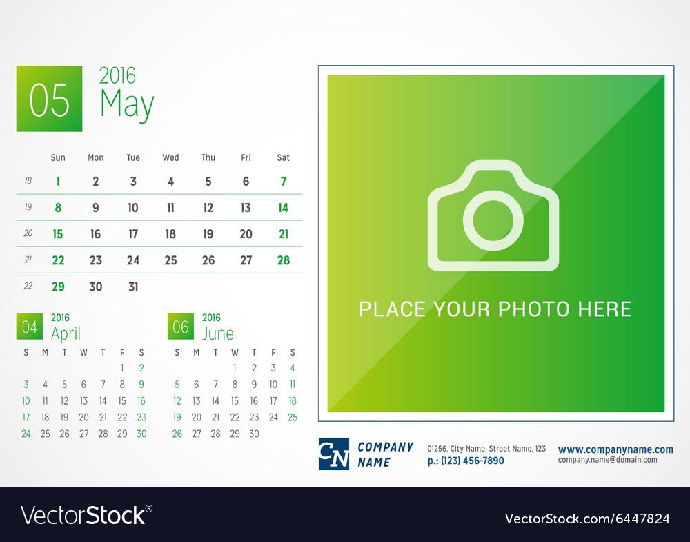 desk calendar 2016 print template may week starts vector image