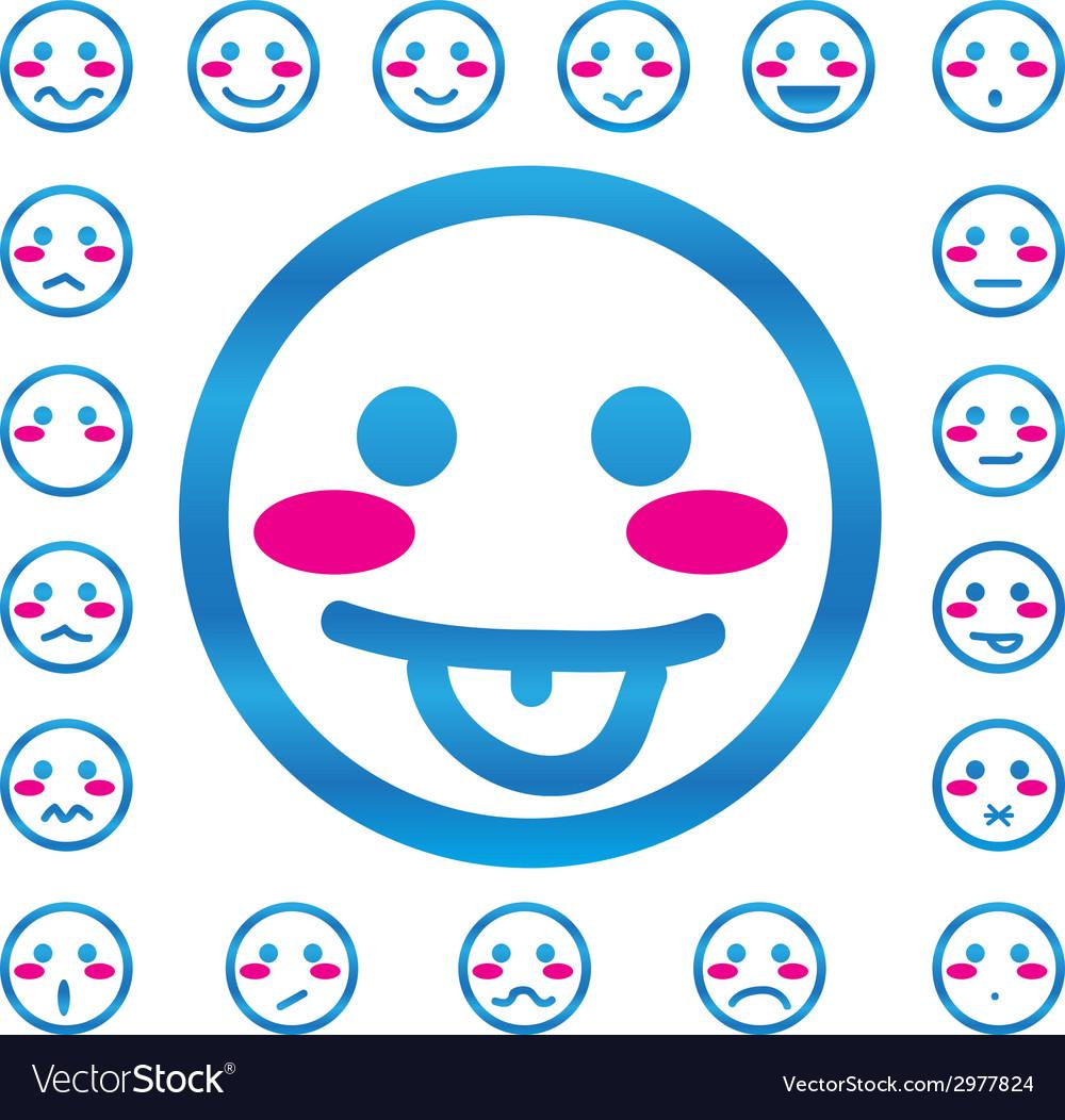 Emotion faces icons set