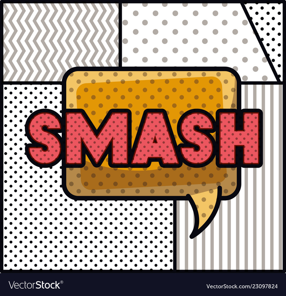 expression bubble with smash pop art style vector image