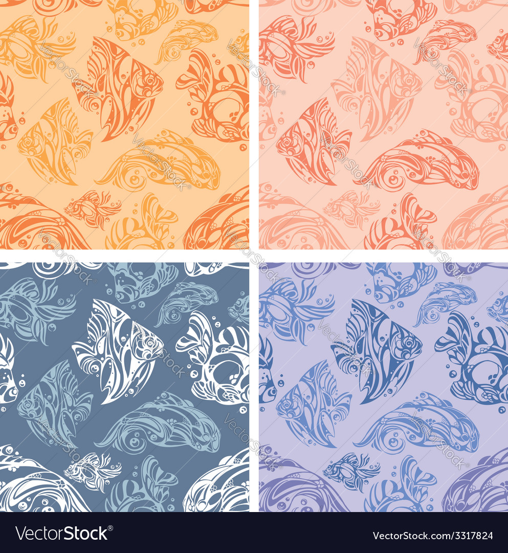 Fishes seamless pattern set vector image