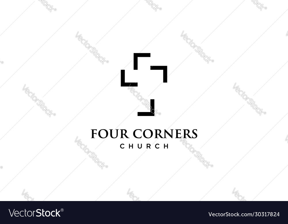 Four Corners With Church Logo Design Concept Vector Image