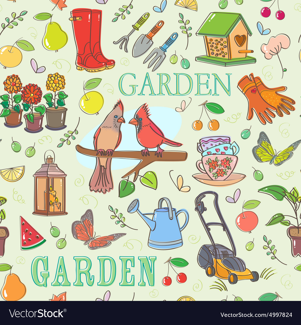 Gardening set seamless pattern