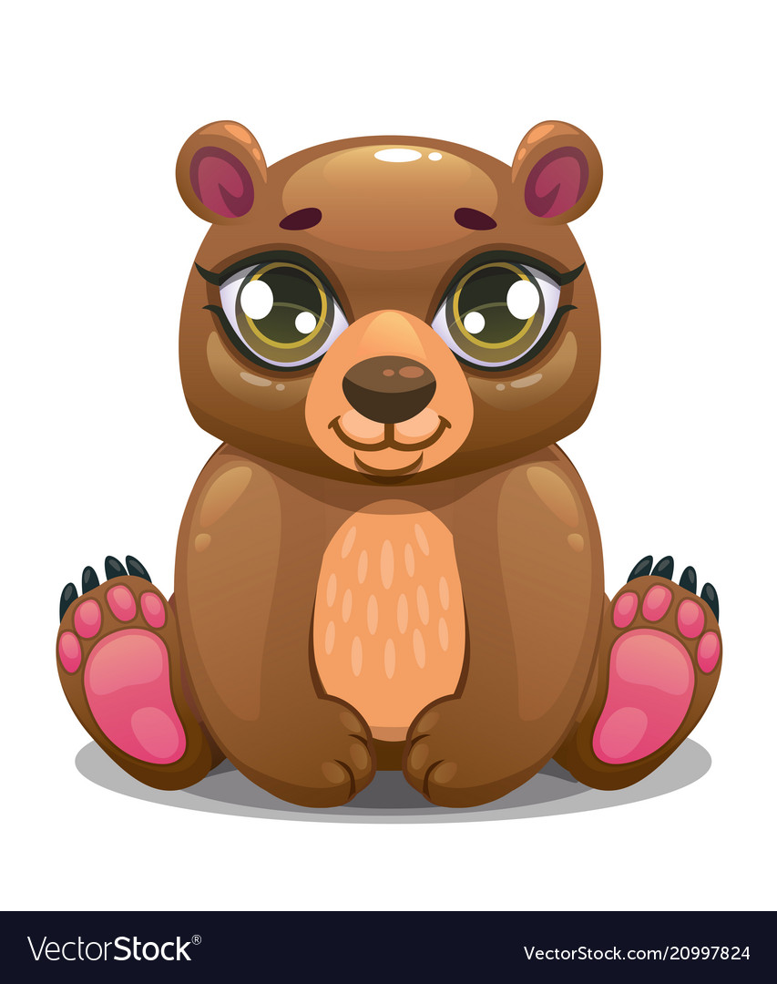 Little cute cartoon sitting bear