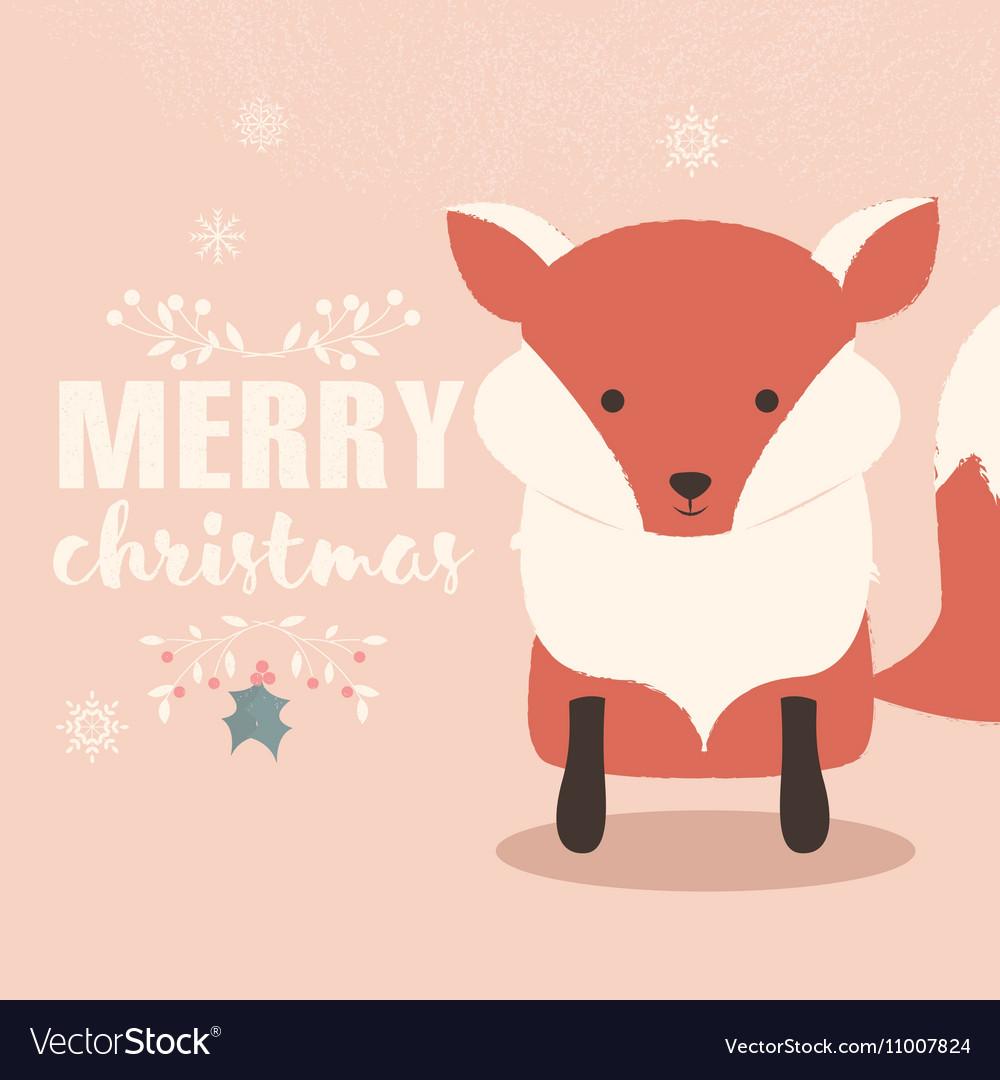 Merry Christmas postcard with cute orange fox