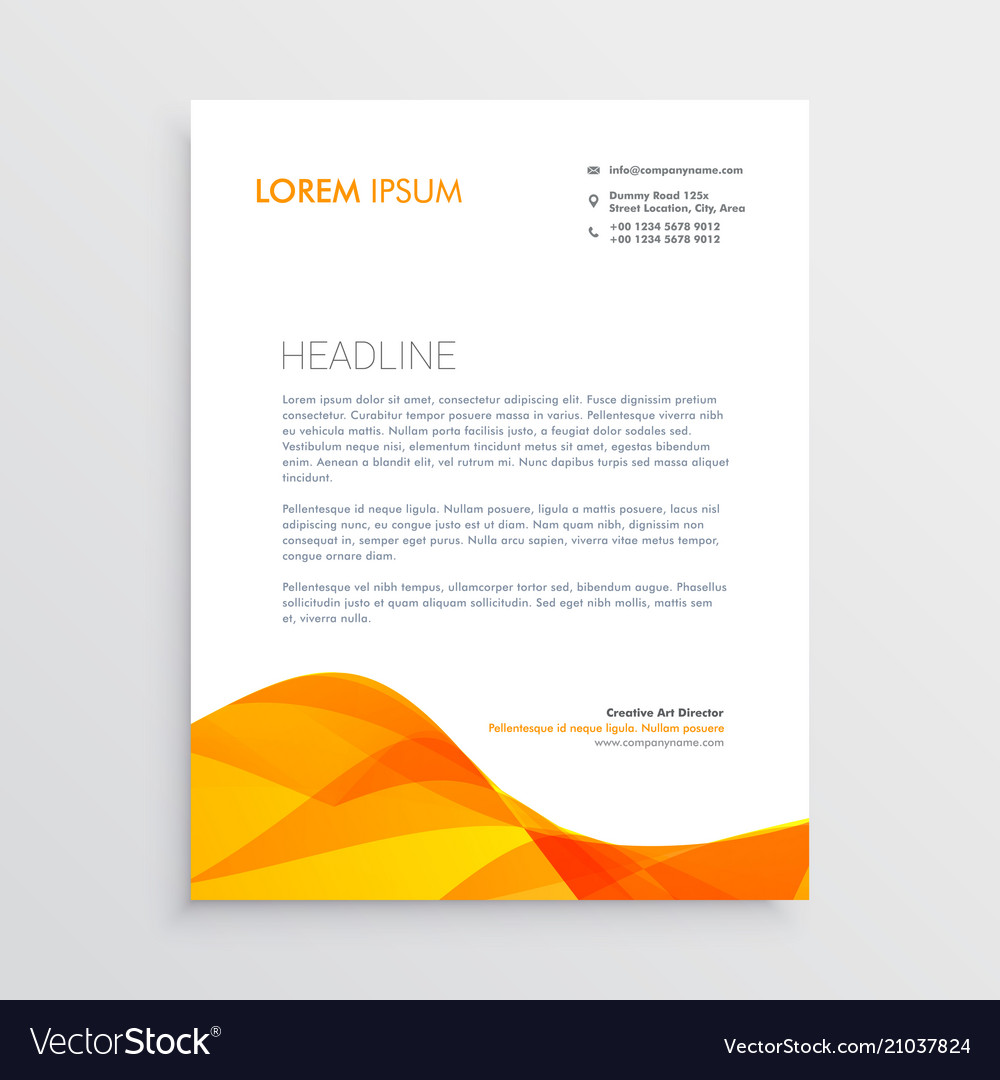 Orange business letterhead design template vector image accmission