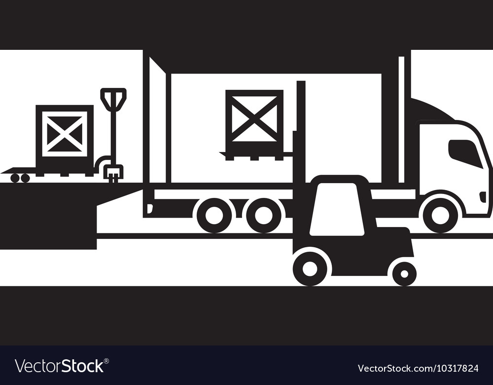 Pallet truck and forklift loading truck vector image