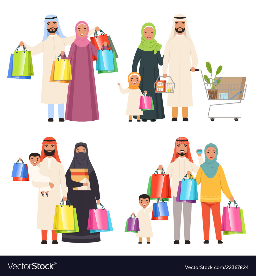 Saudi family market arabic male and female
