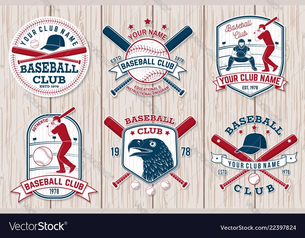 Set of baseball or softball club badge