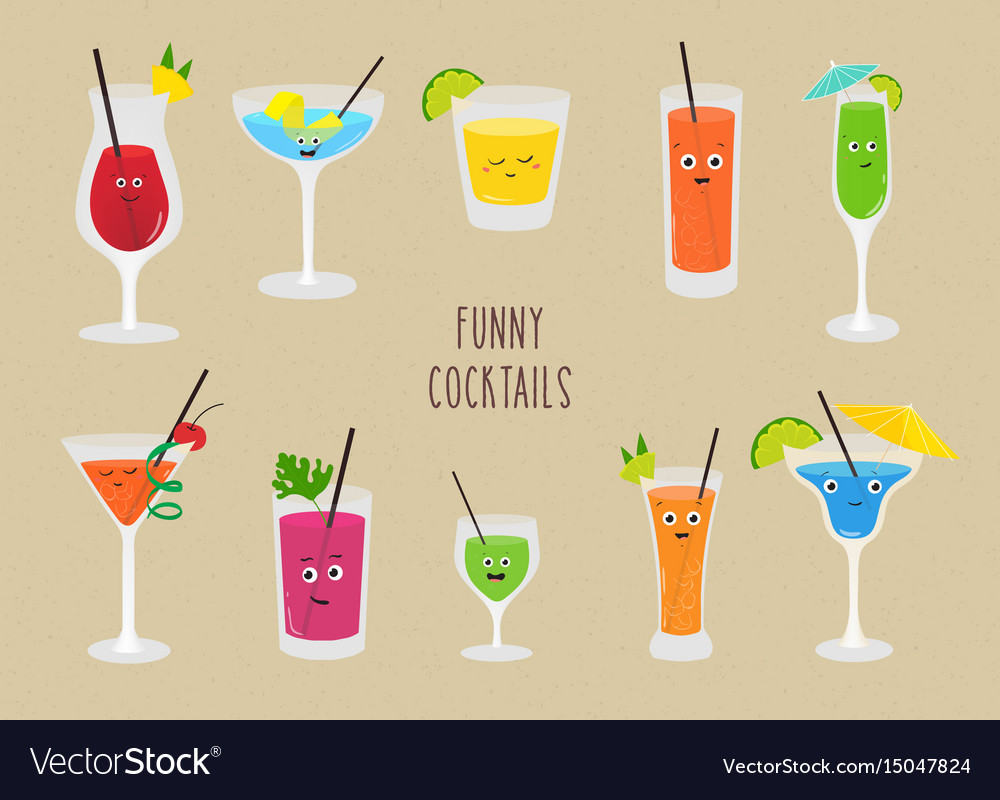 Set of funny cocktails colorful drinks in