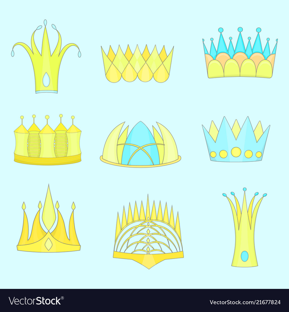 Set with diverse outlined fantasy flat crowns