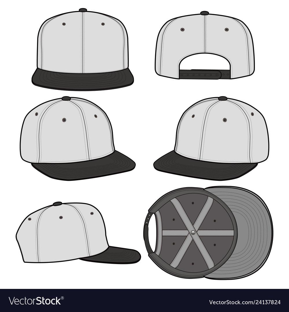 Snapback cap fashion flat mockup design vector image on VectorStock