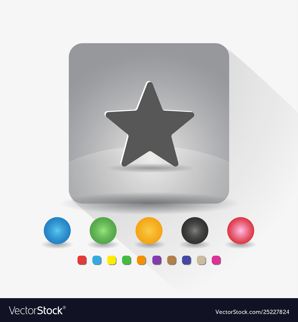 Star shape icon sign symbol app in gray square