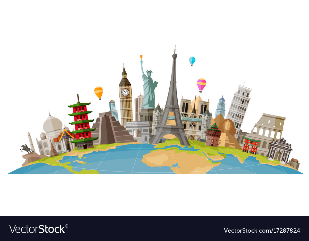 Travel journey concept famous monuments of world