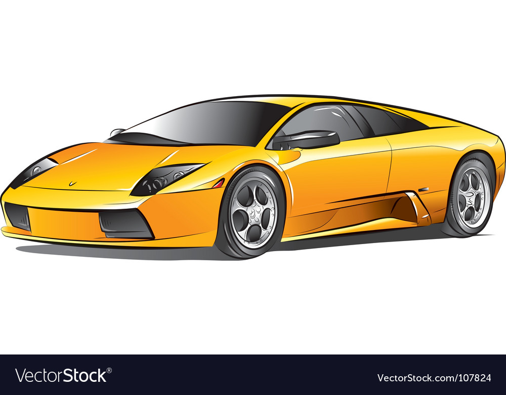 Yellow Expensive Car Royalty Free Vector Image