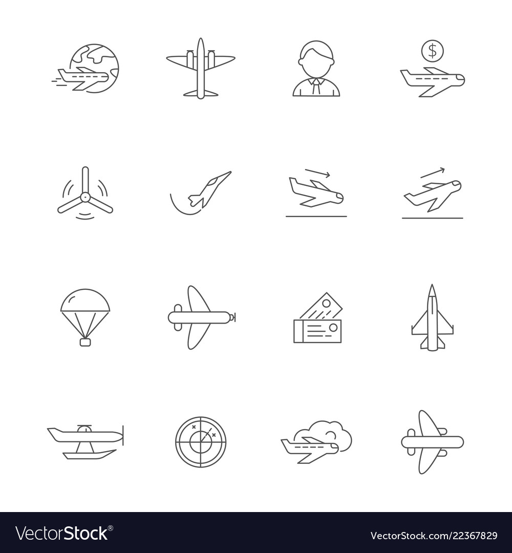 Aircraft line icons airplane travelling symbols