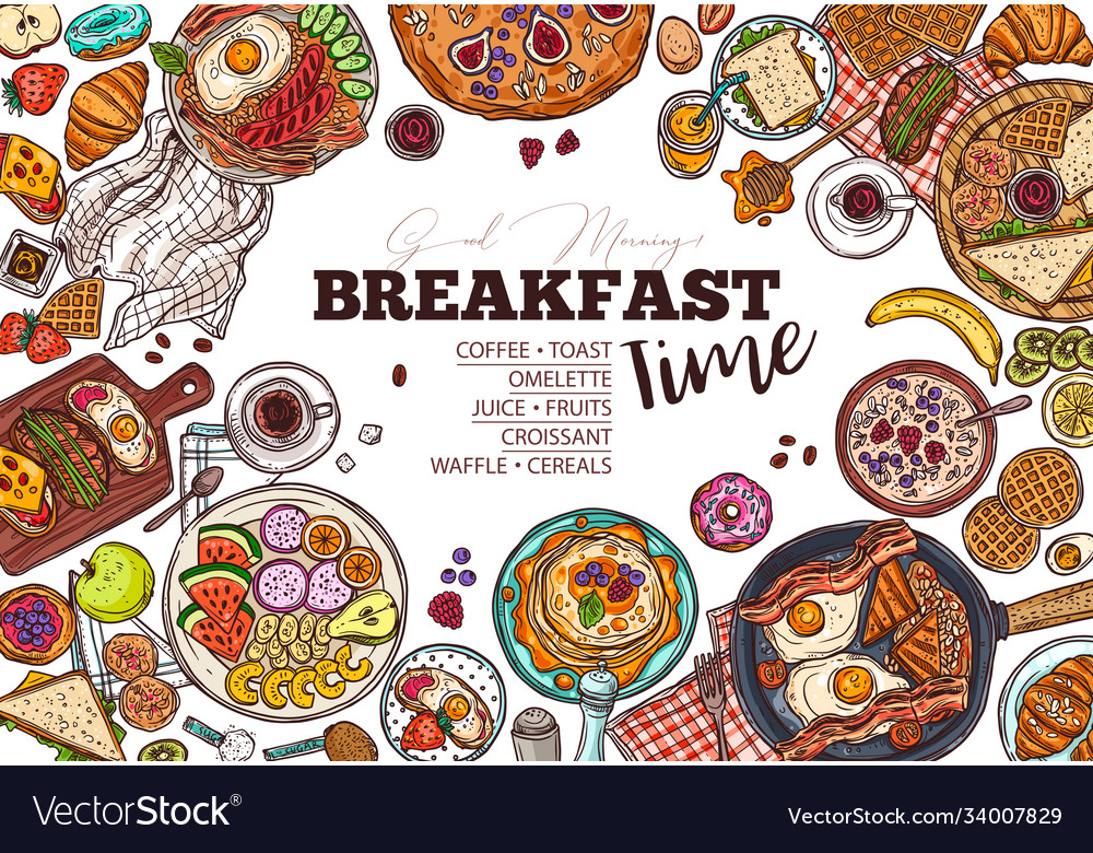 Breakfast menu hand drawn template