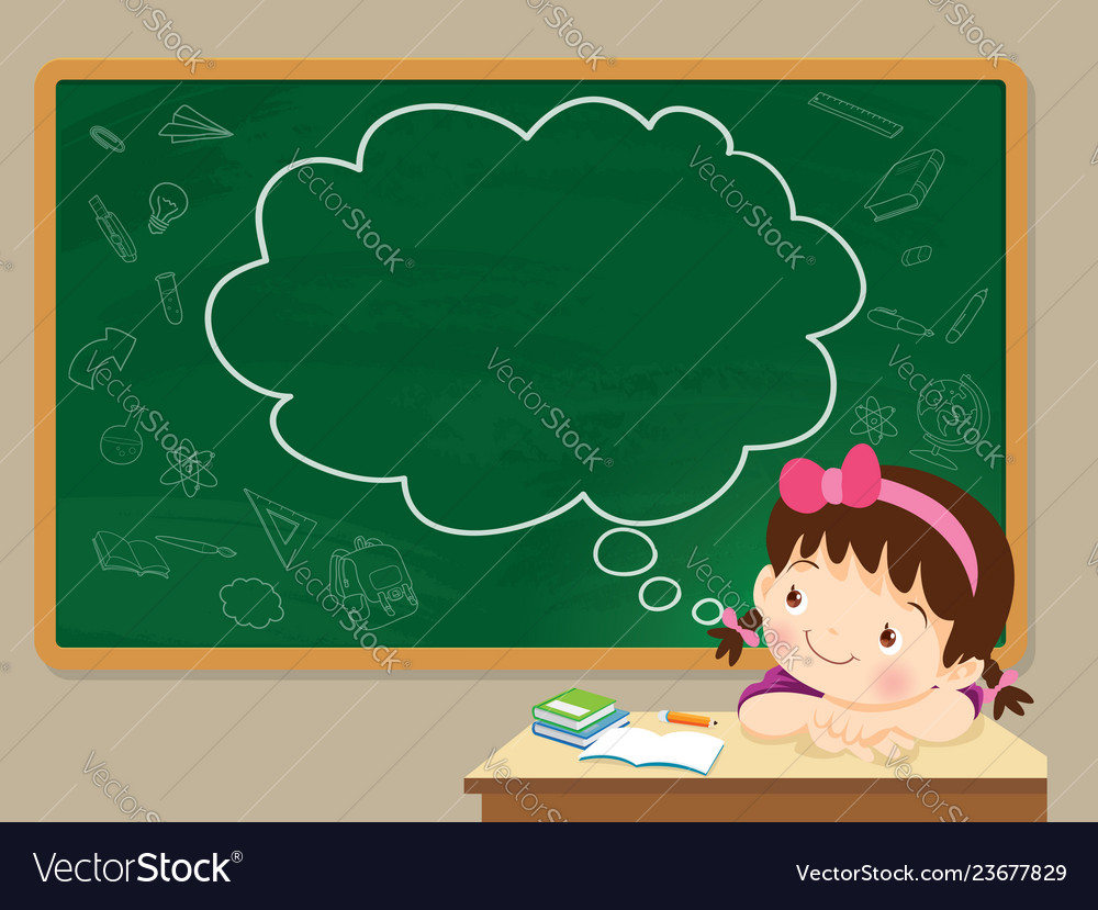 Children girl thinking and chalkboard