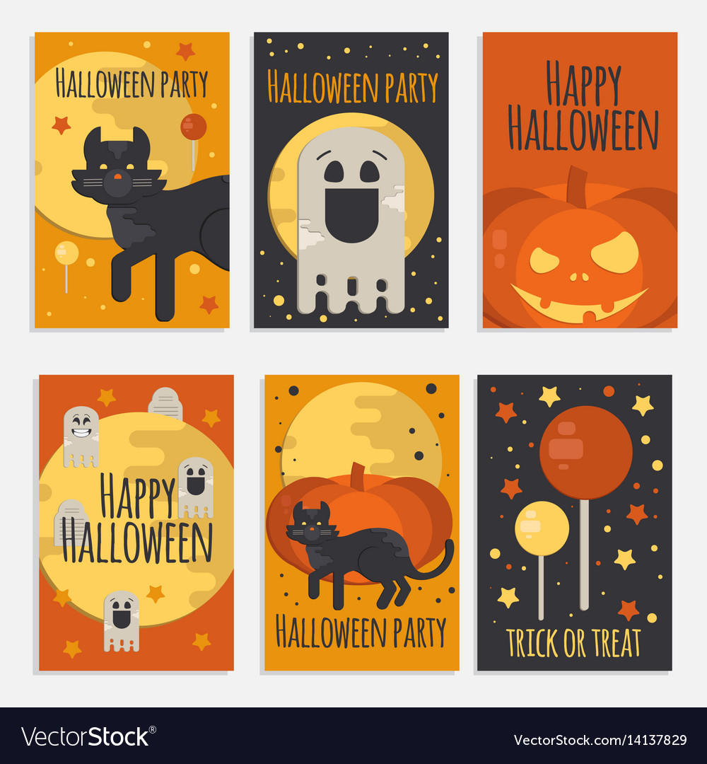 Halloween party banners cards and posters