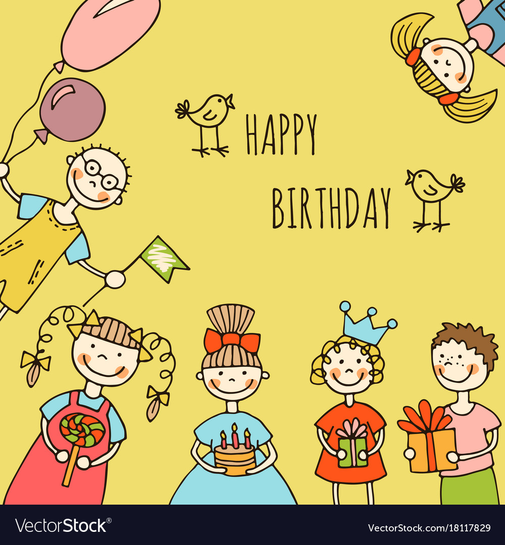 Happy birthday kids greeting card royalty free vector image happy birthday kids greeting card vector image m4hsunfo