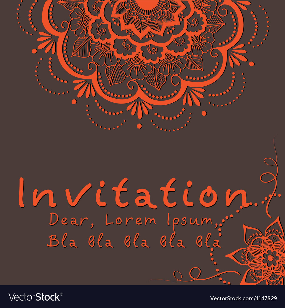 Indian wedding invitation Royalty Free Vector Image