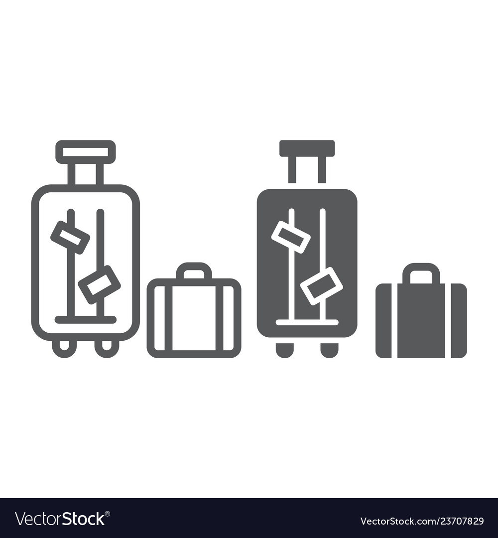 Luggage line and glyph icon suitcase and bag