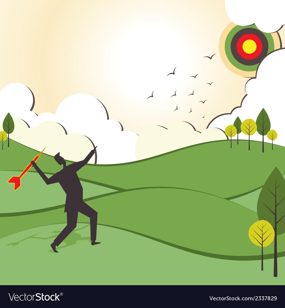 People hit to archery board