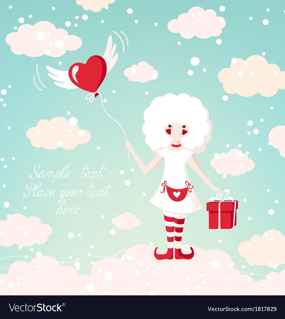 Romantic background with beautiful girl on the sky vector image