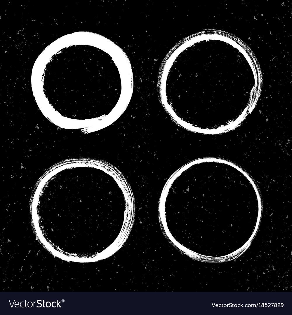 Set grunge white circle brush strokes Royalty Free Vector