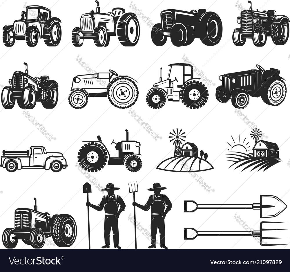 Set of farmers market design elements tractor vector image