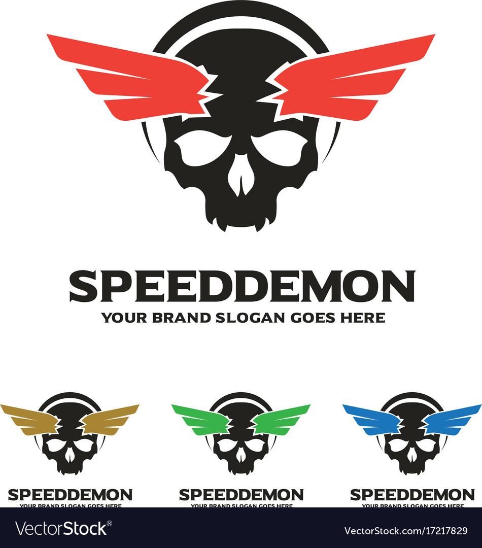 Skull wing logo speed demon logo