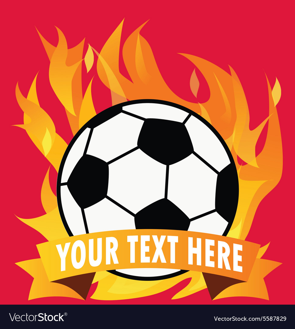 Soccer ball on fire with space for text