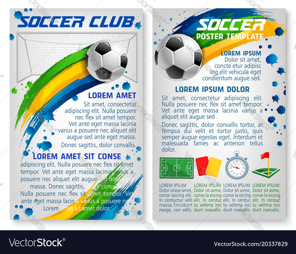 Soccer Team Club Football Poster Template Vector Image