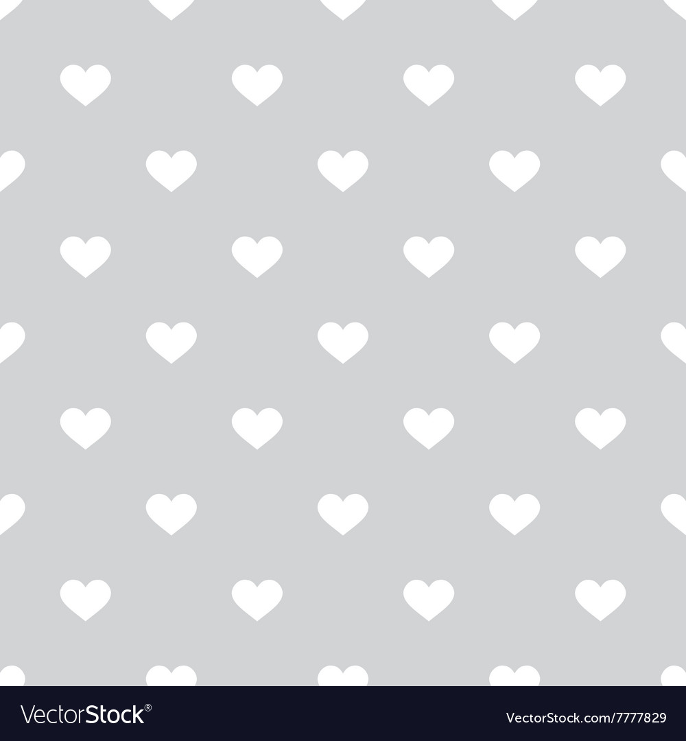 tile pattern with white hearts on grey background vector image