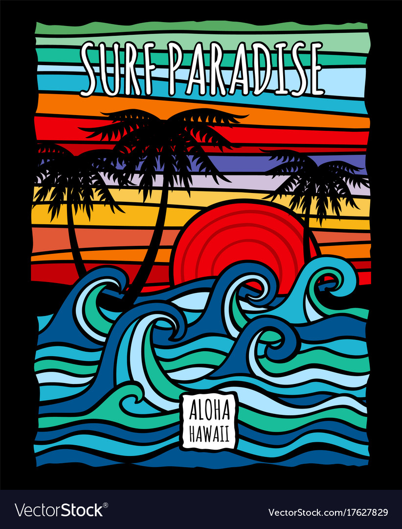 Vintage hawaii aloha surf graphic with ocean waves