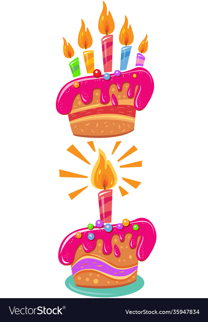 Birthday cakes with colorful candles