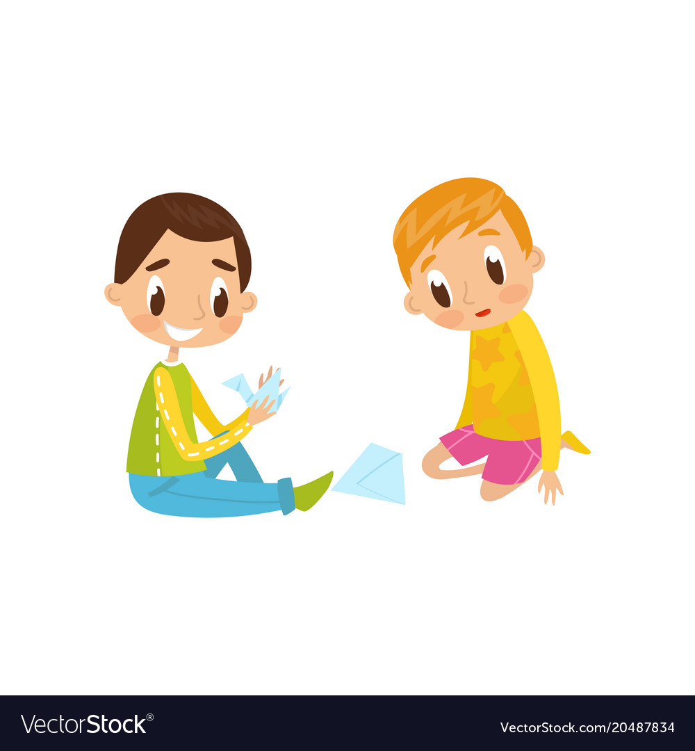 Cute little boy and girl sitting on the