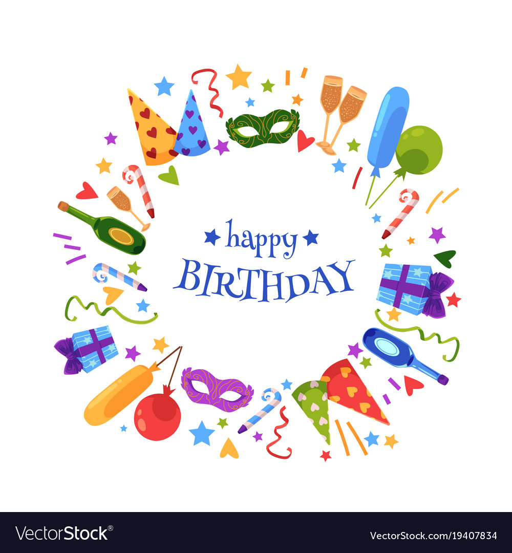 Flat Hy Birthday Card Template Vector Image