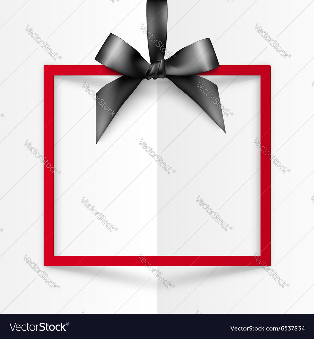 Red gift box frame with black silky bow and ribbon