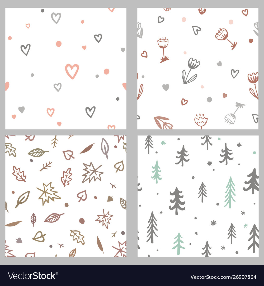 Set with cute doodle seamless patterns
