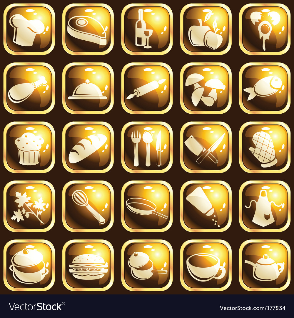 Square highgloss food icons
