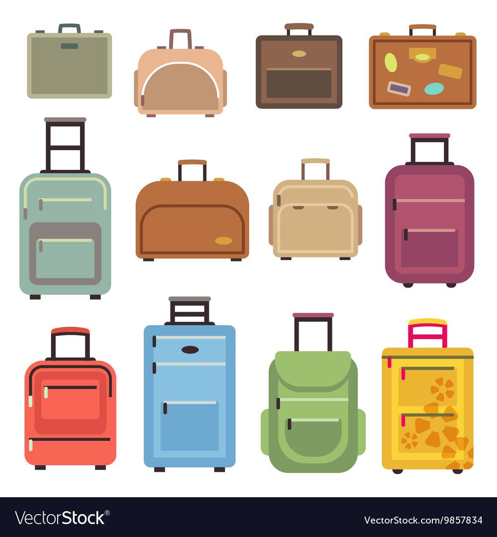 Travel luggage bag suitcase flat icons