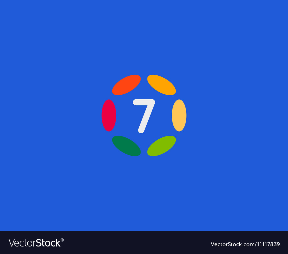 Color number 7 logo icon design Hub frame