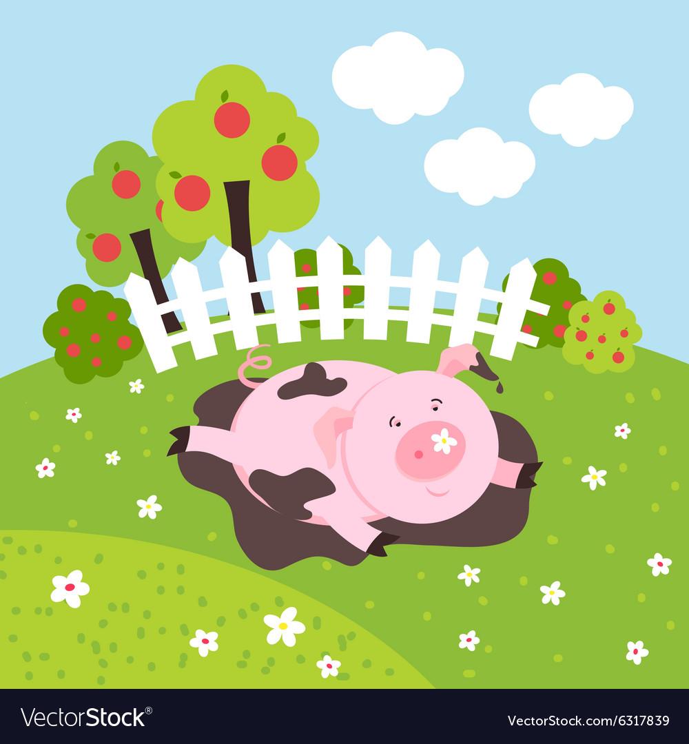 Cute smilling pig on a farm field