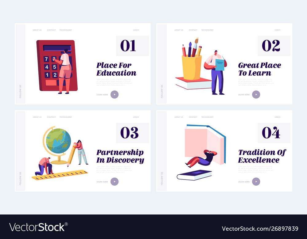 Education concept website landing page set tiny